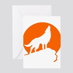 Wolf Howling Moon orange Greeting Cards