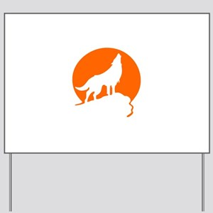 Wolf Howling Moon orange Yard Sign