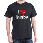 I Love Rugby (Front) Black T-Shirt