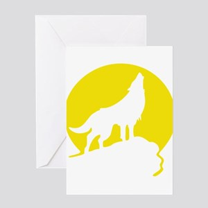 Wolf Howling Moon yellow Greeting Cards