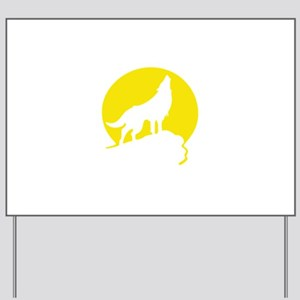 Wolf Howling Moon yellow Yard Sign