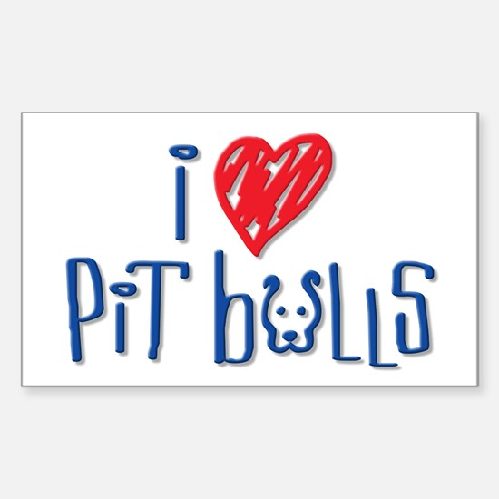 I Love Pit Bulls Rectangle Decal
