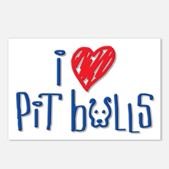 I Love Pit Bulls Postcards (Package of 8)