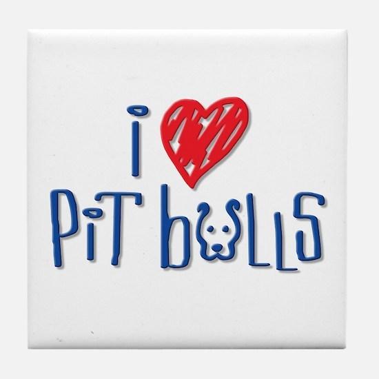 I Love Pit Bulls Tile Coaster