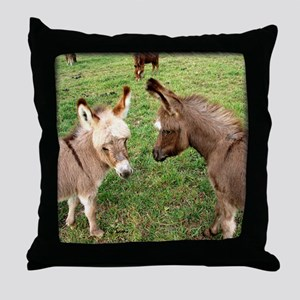 Two Baby Donkeys Throw Pillow