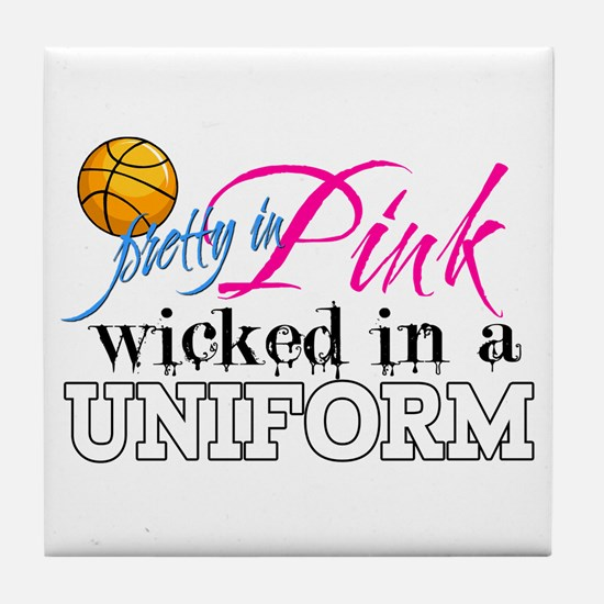 Pretty In Pink Basketball Tile Coaster