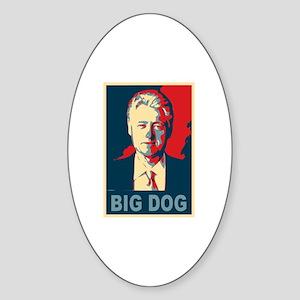 Bill Clinton Big Dog Pop Art Oval Sticker