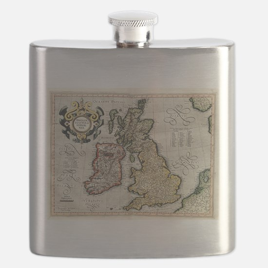 Vintage Map of The British Isles (1596) Flask
