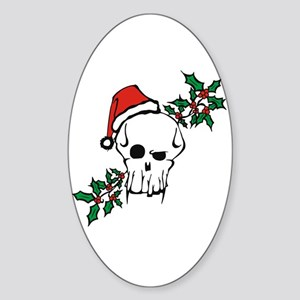 Santa Skull Oval Sticker