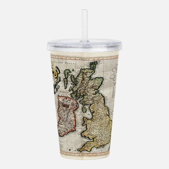 Vintage Map of The Bri Acrylic Double-wall Tumbler