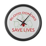 Blood Donors Save Lives Large Wall Clock