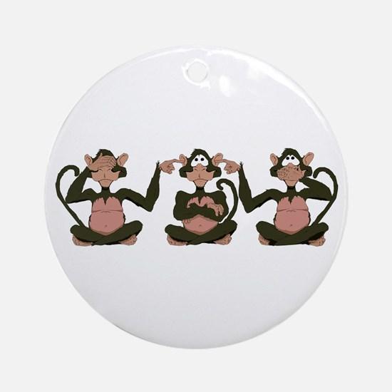 3 Monkeys! Ornament (Round)