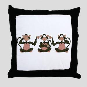 3 Monkeys! Throw Pillow