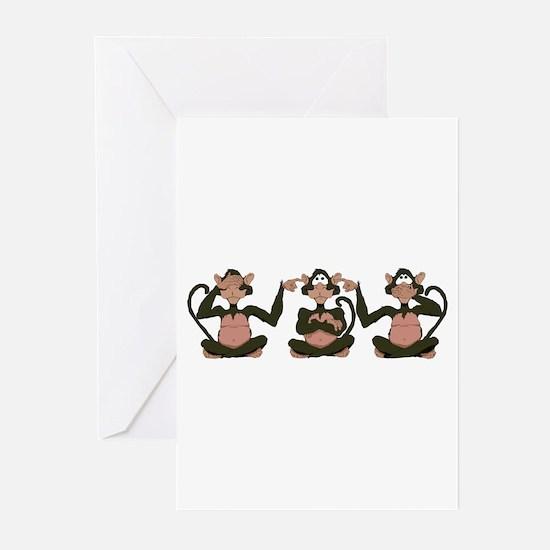 3 Monkeys! Greeting Cards (Pk of 10)