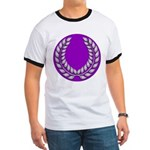 Purple with silver laurel Ringer T