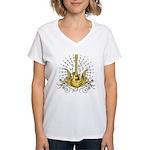 Golden Winged Guitar Women's V-Neck T-Shirt