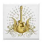 Golden Winged Guitar Tile Coaster