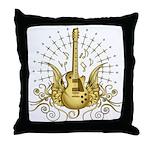Golden Winged Guitar Throw Pillow