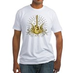 Golden Winged Guitar Fitted T-Shirt