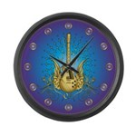Golden Winged Guitar Large Wall Clock