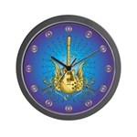 Golden Winged Guitar Wall Clock