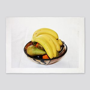 Fruit in a wooden bowl 5'x7'Area Rug