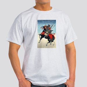 Black Horse Samurai Ash Grey T-Shirt