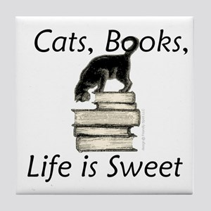 Cat on Books Tile Coaster