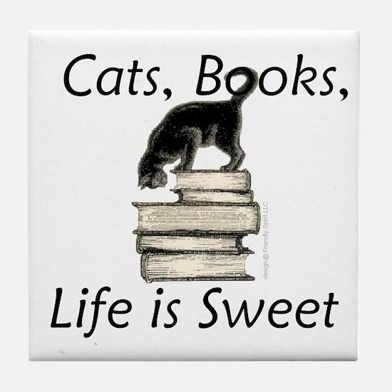Cat on Books Tile Coaster
