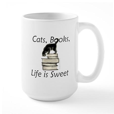Cat on Books Large Mug