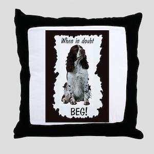 springer spaniel beg Throw Pillow