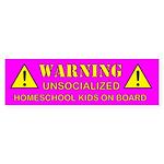 Warning: Unsocialized Bumper Sticker (Pink)