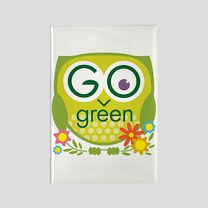 Go Green Owl Rectangle Magnet