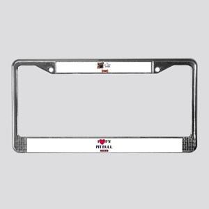 I LOVE MY PIT BULL ROCKY License Plate Frame