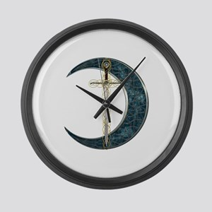 Colorful Celtic Moon and Swor Large Wall Clock