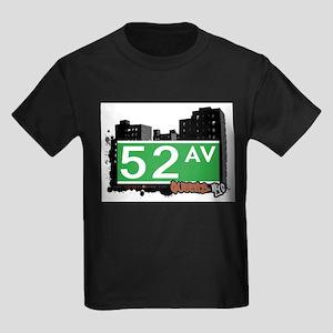 52 AVENUE, QUEENS, NYC Kids Dark T-Shirt