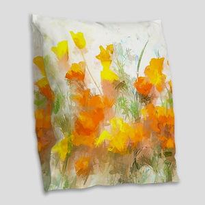 Sunrise Poppies II Burlap Throw Pillow