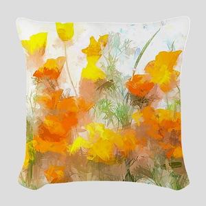 Sunrise Poppies II Woven Throw Pillow