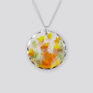 Sunrise Poppies II Necklace Circle Charm