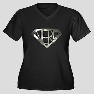 Chrome Super Nerd Women's Plus Size V-Neck Dark T-
