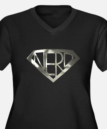 Chrome Super Nerd Women's Plus Size V-Neck Dark T-