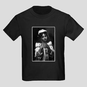 Girl with Tambourine Kids Dark T-Shirt