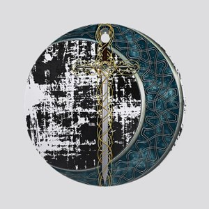 Grunge Celtic Moon and Sword Ornament (Round)