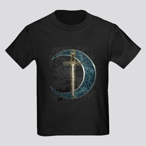 Grunge Celtic Moon and Sword Kids Dark T-Shirt