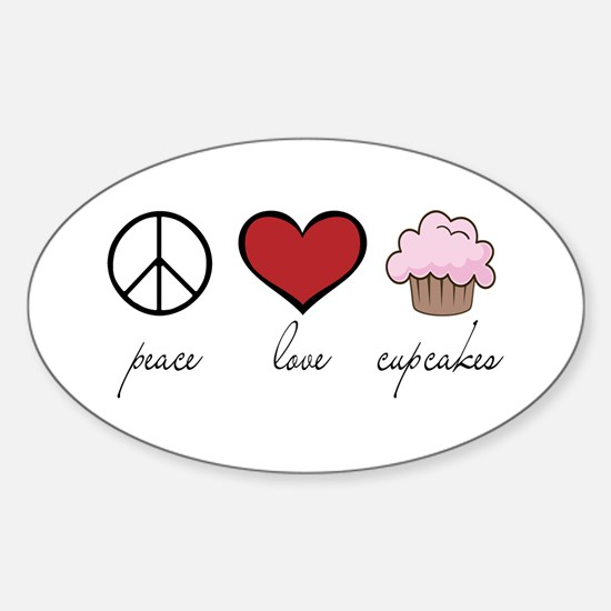 Peace Love Cupcakes Oval Decal