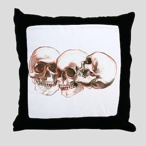 3 Skulls Throw Pillow