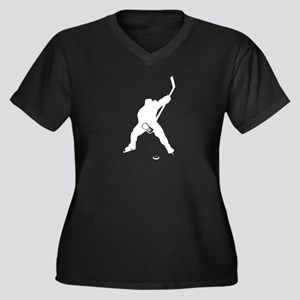 Hockey Playe Women's Plus Size V-Neck Dark T-Shirt
