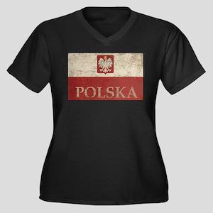 Vintage Polska Women's Plus Size V-Neck Dark T-Shi