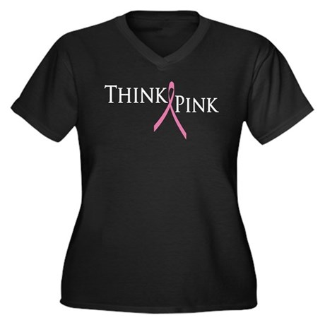 Think Pink (Breast Cancer) Women's Plus Size V-Nec
