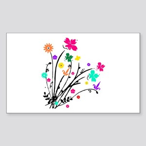 'Flower Spray' Rectangle Sticker